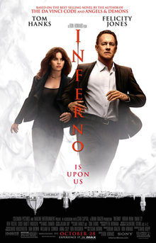 Tom Hanks as Robert Langdon with Felicity Jones as Sienna Brooks running together, with the film's title is written vertically in the middle between them, the film's director's name above and the billing and credits underneath them.