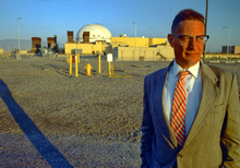 James L Acord in front of FFTF, Hanford, WA, USA.
