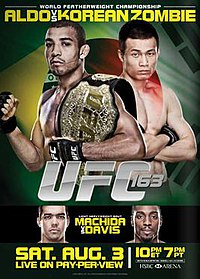 A poster or logo for UFC 163: Aldo vs. Korean Zombie.