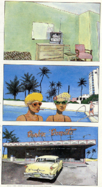 Catalan Communications - Page five from New York/Miami (Catalan, 1990) by Loustal and Philippe Paringaux, translated by Elizabeth Bell