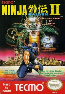 "The logo of Ninja Gaiden II: The Dark Sword of Chaos is on the top of the screen. In the middle of the image is a depiction of a ninja in violet either sheathing or unsheathing a katana from the scabbard. The ninja is portrayed in the background of a nighttime city with a dragon rising over. To the bottom right of the ninja is green text saying ""Sequel to NinJa Gaiden, the arcade and Nintendo best seller!"", and to the left of that is a license by Nintendo. The bottom right bears the Nintendo Seal of Quality stamp. In the bottom of the image, in red with white lettering, is the Tecmo logo, with text to the left of the logo saying ""Hard to beat!!""."