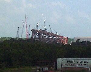Oil platform - A fixed platform base under construction on a Louisiana river