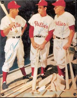 "Whiz Kids (baseball) - Granny Hamner, Del Ennis, and Richie Ashburn of the 1950 Phillies ""Whiz Kids"" in a promotional photo."