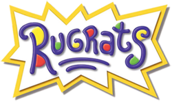 "The word ""Rugrats"" and two small underlines in dark blue written in a child's handwriting, with red, yellow and green dots, a white background and a jagged yellow border."