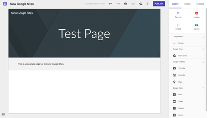 Screenshot of the editing mode in the New Google Sites.