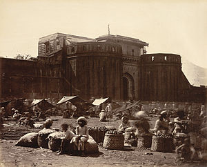 Shaniwar Wada - The imposing walls of the Shaniwar Wada, in an 1860 photograph