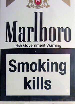 Warning label - Warning label on a cigarette box, which reportedly boosted sales of cigarette cases in the EU in 2003