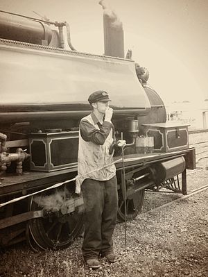 Feilding and District Steam Rail Society - Image: Steam Train Driver