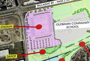 Tallaght Stadium - Plan of the first phase of the Stadium on display at the site. Note the proximity of the East (right) stand to the adjoining school. Extending the pitch dimensions would have resulted in reduction of capacity in this stand.
