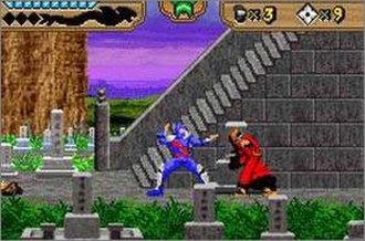 The Revenge of Shinobi (2002 video game) - Shinobi engages in mixed-weapon combat with an enemy in a Japan-inspired cemetery setting.