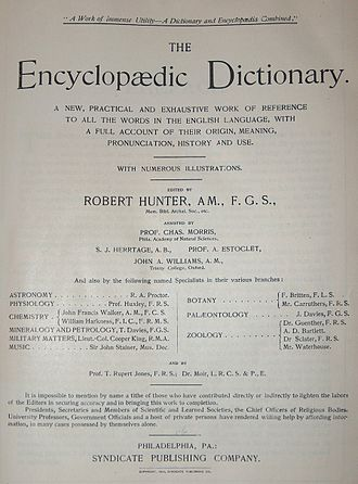 Encyclopedic dictionary - Title page from the 1894 four volume version of Robert Hunter's The Encyclopædic Dictionary.