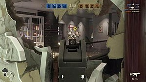 Tom Clancy's Rainbow Six Siege - An alpha gameplay screenshot of the game, showcasing the Hostage Mode. Players can destroy structures like walls to spot targets.