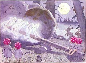 Swedish children's literature - Illustration from Elsa Beskow's Tomtebobarnen (Children of the Forest), 1910