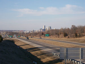 Interstate 244 - I-244 with downtown Tulsa in the background