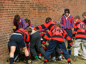 Eton wall game - First ever inter-school Eton Wall Game in progress