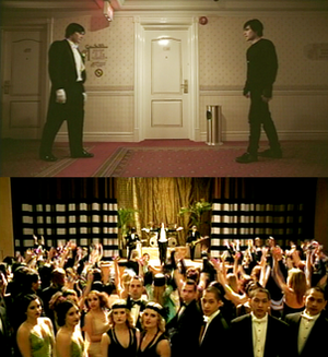 The Kill - Scenes from the music video - top: Jared Leto confronting himself. Bottom: The band perform the song to the 1920s-themed audience.
