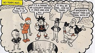 The Beano - The 80th-anniversary comic memorably features characters from the first issue. Left to right: Wee Peem, Tin-Can Tommy, Pansy Potter, Lord Snooty, and Big Fat Joe.