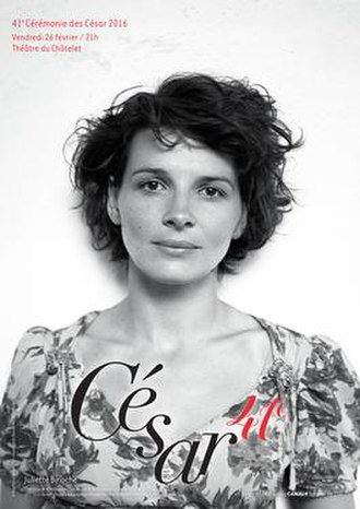41st César Awards - Official poster featuring a photo of Juliette Binoche during the shooting of the 1996 film The English Patient