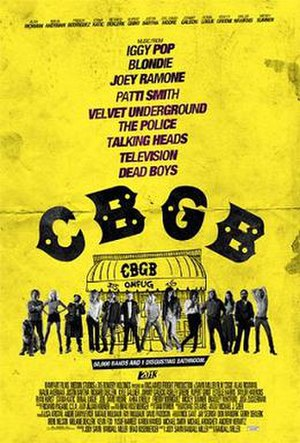 "CBGB (film) - Promotional poster with tagline ""50,000 Bands and One Disgusting Bathroom"""