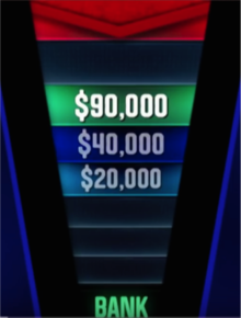 A screenshot from the U.S. game show The Chase illustrating gameplay, in which a contestant has selected the higher $90,000 offer from the chaser, who in turn is two spaces behind the contestant on the gameboard