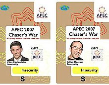 Security passes similar to those used by APEC officials. Words such as JOKE and Insecurity were clearly printed.