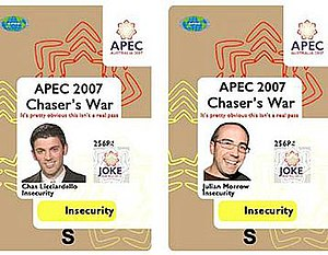 APEC Australia 2007 - Fake security passes used by the comedians.