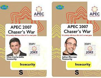 The Chaser APEC pranks - Imitation insecurity passes used by The Chaser to breach the APEC Australia 2007 restricted zone