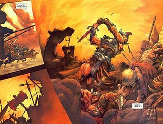Conan (comics) - An interior panel of Conan comic adaptation by Dark Horse Comics featuring the art of Cary Nord and Thomas Yeates.