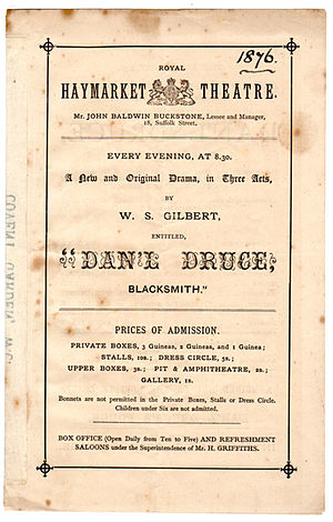 Dan'l Druce, Blacksmith - Programme from the original 1876 production