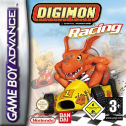"Three stylized creatures race in comically small go-karts on a sandy, foggy race track. A dark orange dinosaur whose ears resemble a bat's wings crosses the finish line in a yellow kart. His two opponents are a lighter orange, more generic-looking dinosaur and a blue lizard. They occupy second and third place respectively, but appear intent on winning. Above the scene is the science fiction-inspired text ""Digimon Racing""."
