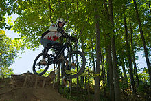 b237b253472 Racing a downhill bike at Horseshoe Valley In Ontario
