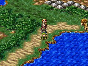 Dragon Quest VII - Characters exploring the world, from the original Playstation version