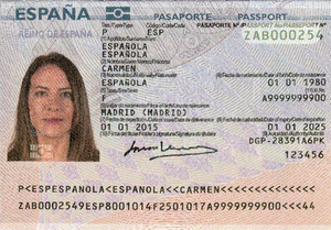 Spanish passport - The data page of a contemporary Spanish biometric passport