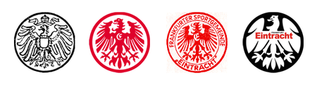 Eintracht's eagle (Adler) has taken many forms over the years: the logo of Frankfurter FV ca. 1911, the red eagle of TuS Eintracht Frankfurt ca. 1920, Sportgemeinde Eintracht Frankfurt ca. 1967, and the predominantly black crest in use ca. 1981-1999 before today's more traditional style logo was adopted.