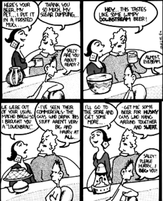 Eyebeam (comic strip) - A strip showing Eyebeam in the foreground, Rod and Beth in the background, and an object that changes from panel to panel: first a vase, then a pot, then a desk lamp, then a lava lamp.