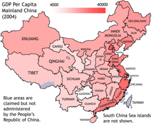 Northern and southern China - GDP per capita in 2004. Disparity in terms of wealth runs in the east-west direction rather than north–south direction. The map, based on provincial borders, also hides an additional sharp disparity between urban and rural areas. However, the southeast coast is still wealthier than the northeast coast in per capital terms.