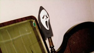 "Scream (franchise) - The Fun World ""Ghostface"" mask as it was first discovered by Marianne Maddalena while scouting the Shadow of a Doubt home."