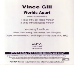 Worlds Apart (Vince Gill song) - Image: Gill Worlds Apart