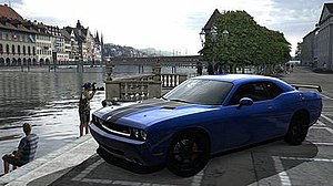 Gran Turismo 5 - Customization in Gran Turismo 5 ranges from engine tune-ups to body effects to improve aerodynamics, as shown on this Dodge Challenger SRT-8.