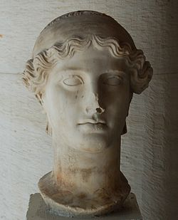 Second century AD copy of the head of Nike - original by Paionios, 5th century BC.
