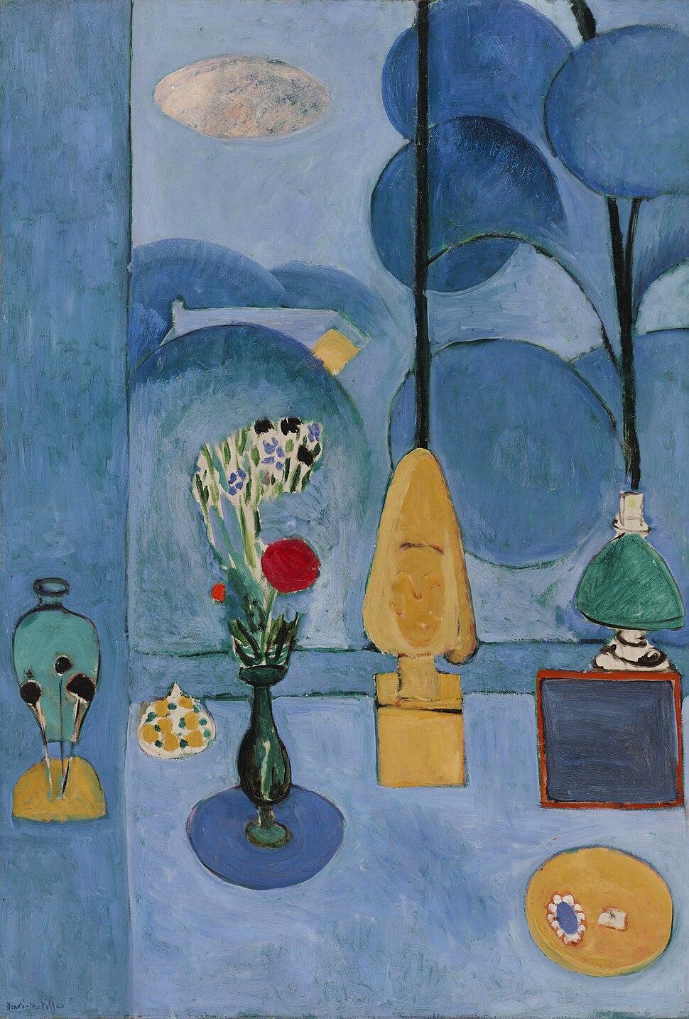 Henri Matisse, 1913, La glace sans tain (The Blue Window), oil on canvas, 130.8 x 90.5 cm, Museum of Modern Art