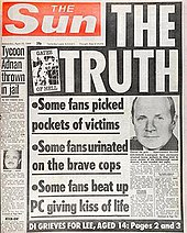 The false allegations on the front page of the sun on 19 april 1989