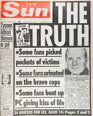 Kelvin MacKenzie - The false allegations on The Suns front page on 19 April 1989 caused widespread offence among Merseysiders, causing them to boycott the newspaper.