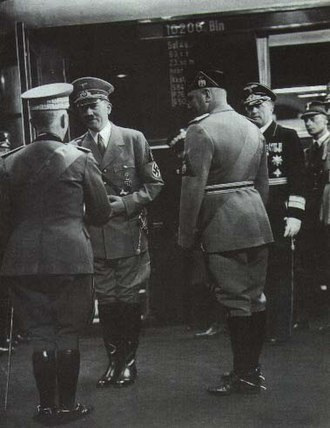 Roma Ostiense railway station - Hitler's arrival in Rome meet at the station by King Victor Emmanuel III and Mussolini.