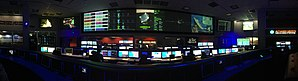 Space Flight Operations Facility - panaorama of the SFOF from the center of the room between the  Cassini and Curiosity mission control consoles