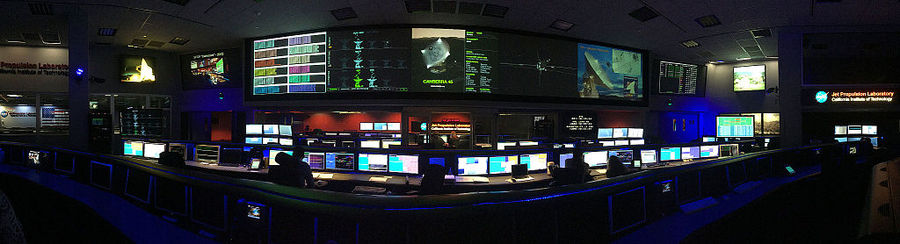 panaorama of the SFOF from the center of the room between the  Cassini and Curiosity mission control consoles