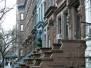Upper West Side - A typical midblock view on the Upper West Side consisting of 4- and 5-story brownstones