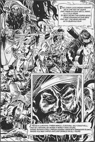 Joe Orlando - This Joe Orlando page with lettering by Todd Klein was created for Alan Moore and Dave Gibbons's Watchmen (1987)