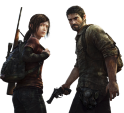 Artwork of a teenage girl, with brown hair. She has a backpack, with a sniper rifle strapped to her side, and is standing beside a man in his 40's, who has brown hair and beard, and a revolver in his right hand.
