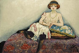 Kees van Dongen - Image: Kees van Dongen, c.1907, Femme aux bas noirs (Woman with Black Stockings), oil on canvas, 129.5 x 195.5 cm